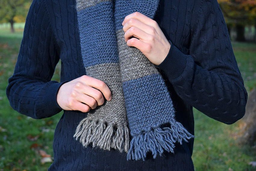 Easy Mens Striped Scarf Knitting Pattern Knit Scarf Patterns