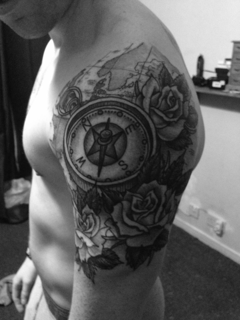 Quarter Sleeve Tattoo: My New Quarter Sleeve Rose And Compass Tattoo.... By Ross