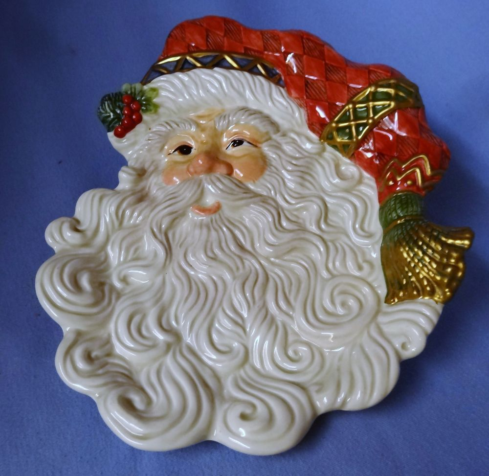 fitz u0026 floyd christmas holiday santa claus face canape cookie tray