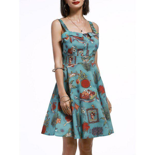 Vintage Women's Sleeveless Cartoon Print Pleated Dress, GREEN, XL in Vintage Dresses | DressLily.com