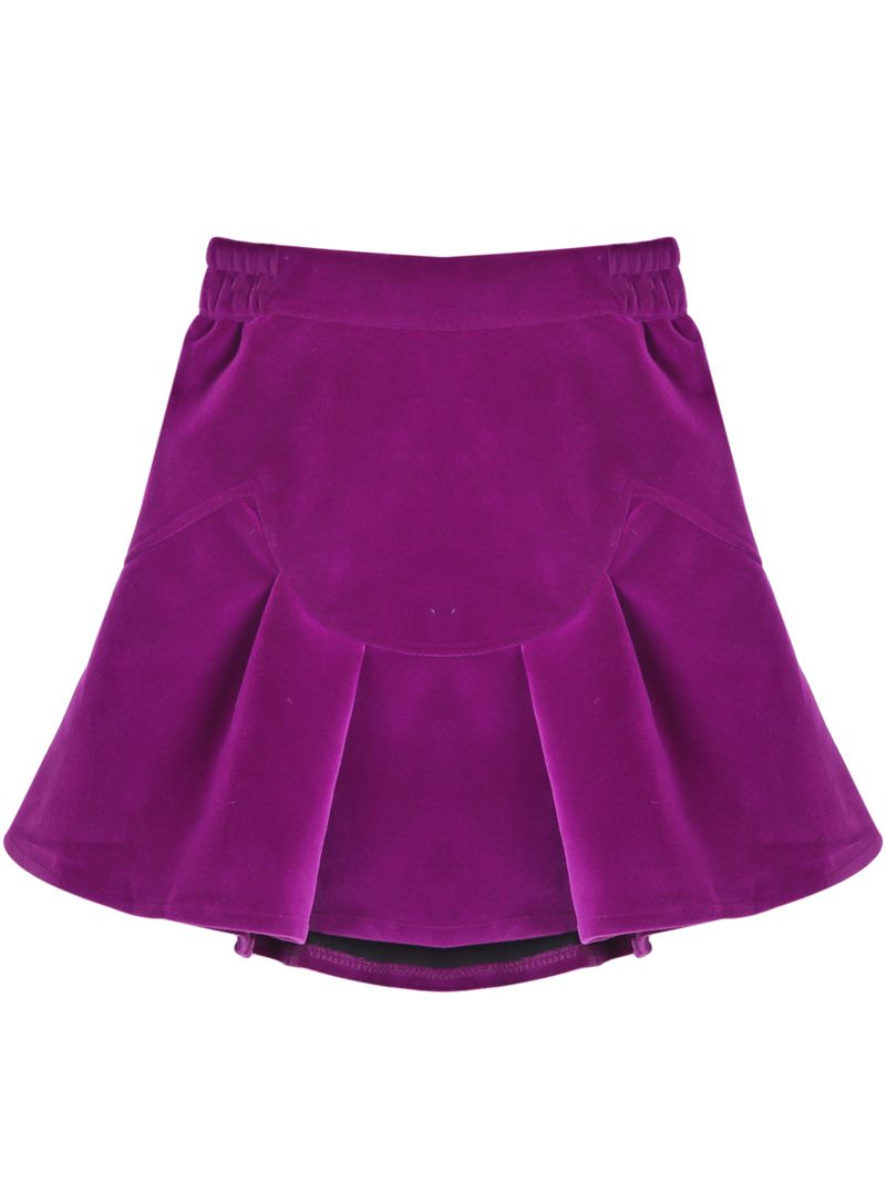 Purple Simple Design Ruffle Skirt US$27.50