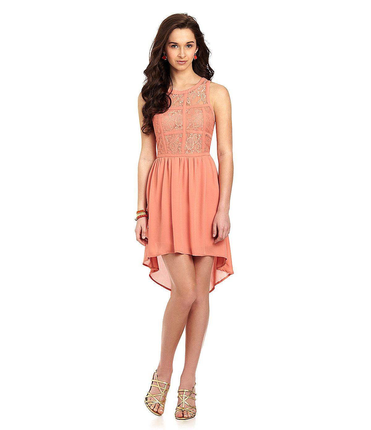 INA Sleeveless Lace Hi-Low Dress | Dillards.com