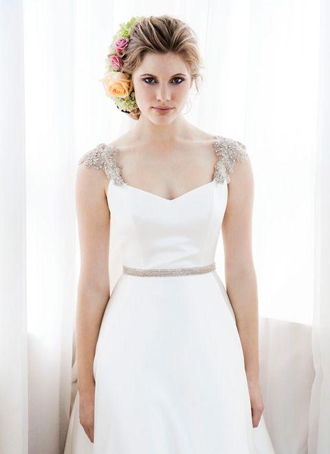 Simple Silk Satin Wedding Dress Flowing In Luxurious With Diamante Shoulders