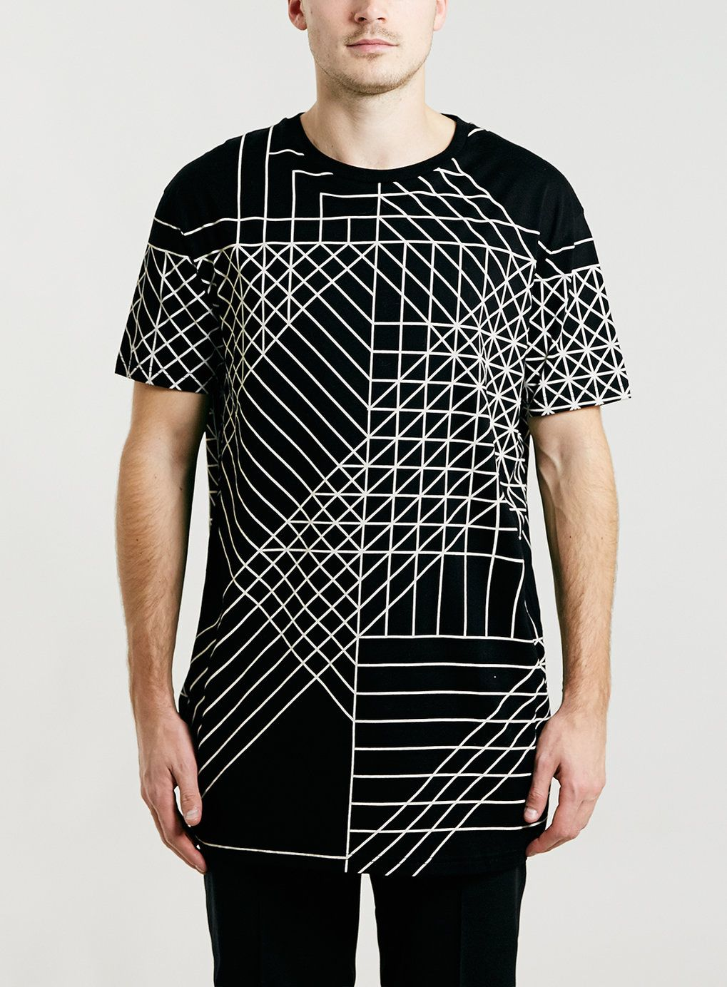 LUX BLACK GEO PRINT LONGER LENGTH T-SHIRT - Print & Patterned T ...
