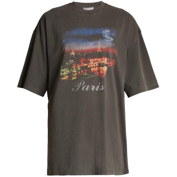 Balenciaga Short-sleeved Paris-print T-shirt ($350) ❤ liked on Polyvore featuring tops, t-shirts, shirts, black print, print … | Printed shirts, Shirts, Paris shirt