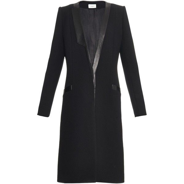 Mugler Addition leather-trim wool coat ($1,114) ❤ liked on Polyvore featuring outerwear, coats, black, lapel coat, woolen coat, knee length coat, wool coat and leather trim wool coat