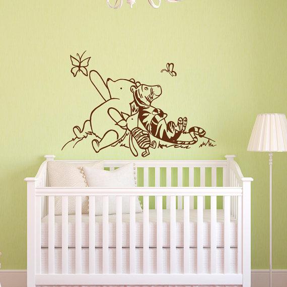 Winnie the pooh wall decals nursery classic winnie the for Classic pooh wall mural