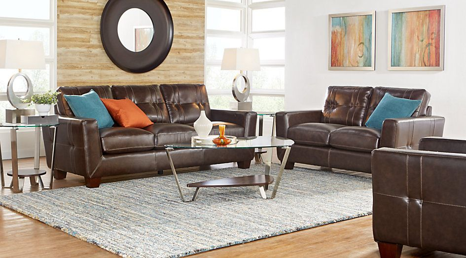 Smith Street Mocha leather sectional For