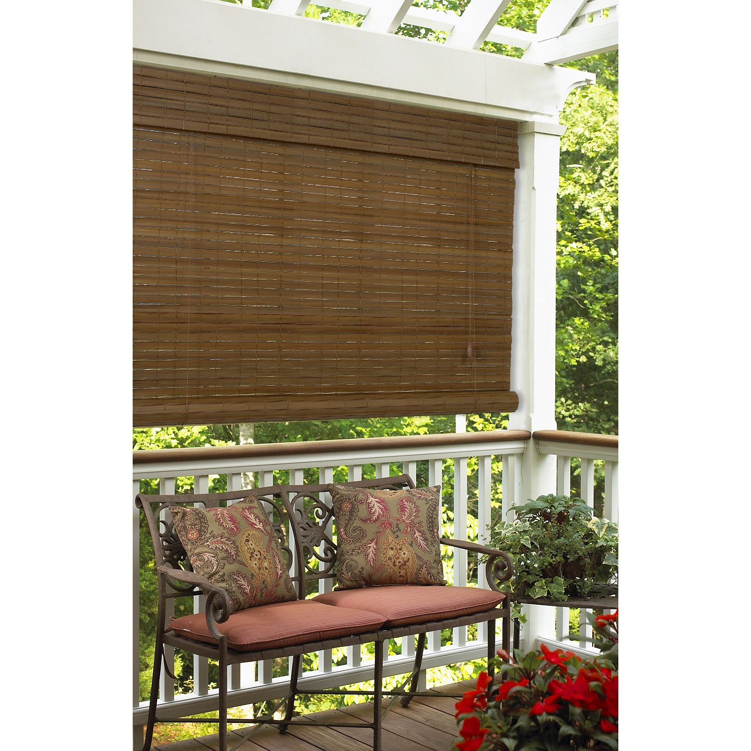 Exterior Black Bamboo Roll Up Shades Porch Over White Polish