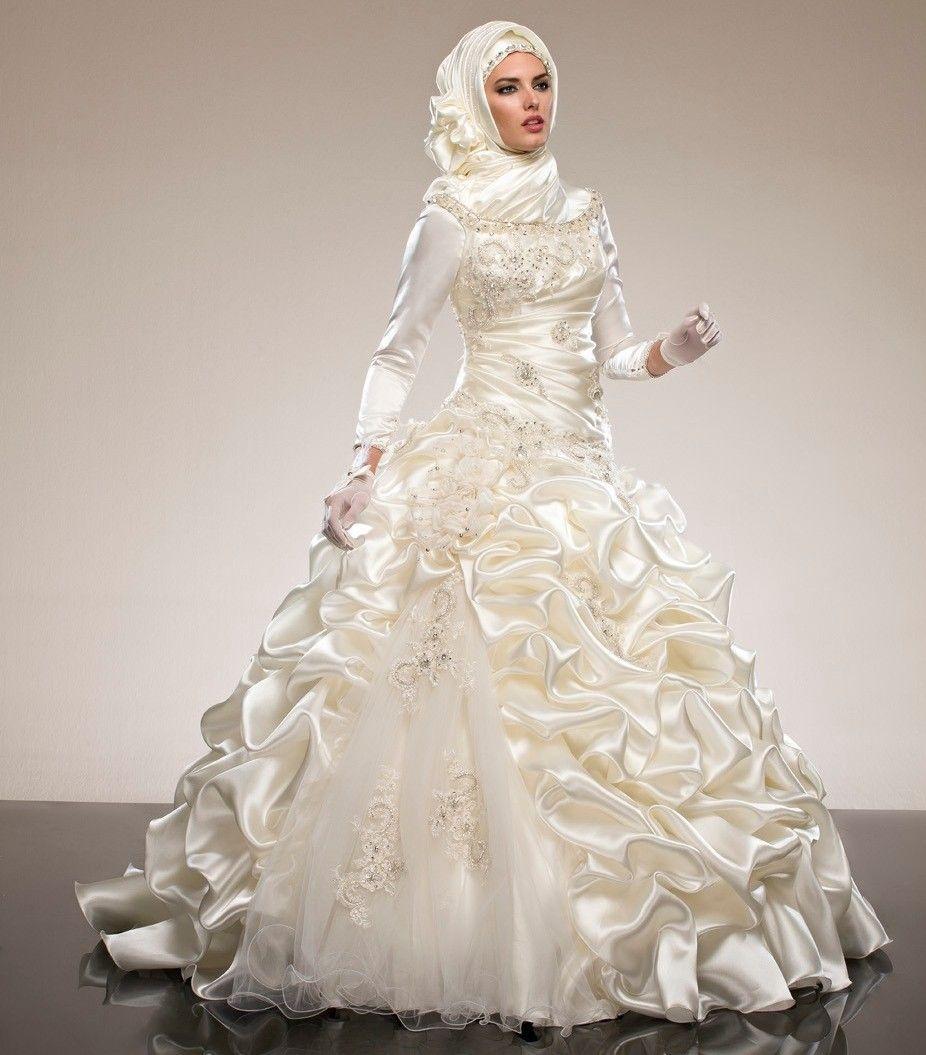Saudi arabia abaya long sleeves muslim wedding dresses ball gowns saudi arabia abaya long sleeves muslim wedding dresses ball gowns ruffles crystal beadings draped wedding gowns ombrellifo Image collections