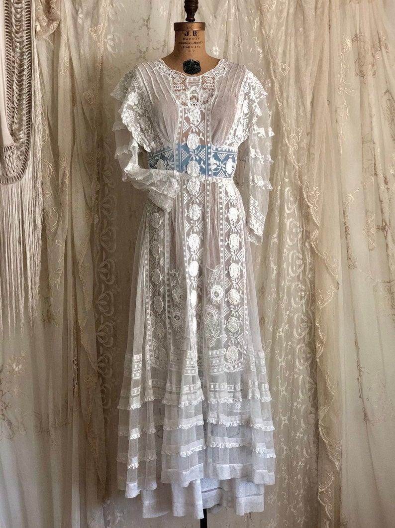 Antique Wedding Dress White Lace Dress Edwardian Etsy Lace White Dress Antique Wedding Dresses Antique Lace Dress [ 1060 x 794 Pixel ]
