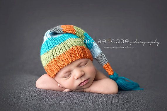 Long Tailed Stripey Pixie Elf Hat With Newborn Photo Photography Prop