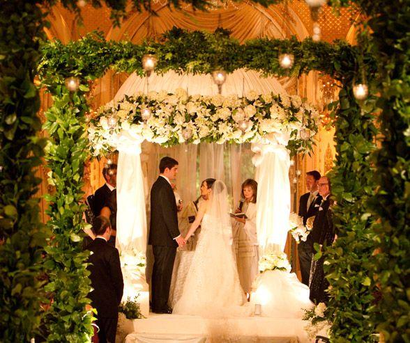 Blanco y boda del oro, boda judía, tradicional, formal, Palm Beach ...