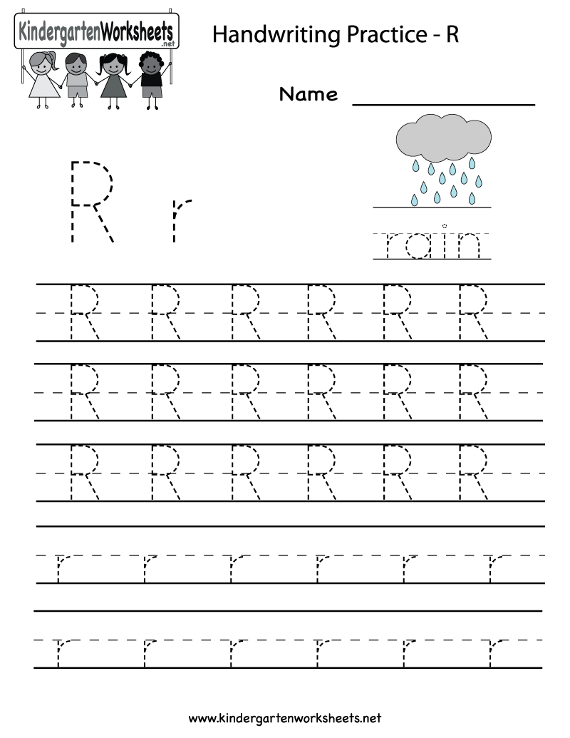 kindergarten letter r writing practice worksheet printable future classroom writing practice. Black Bedroom Furniture Sets. Home Design Ideas