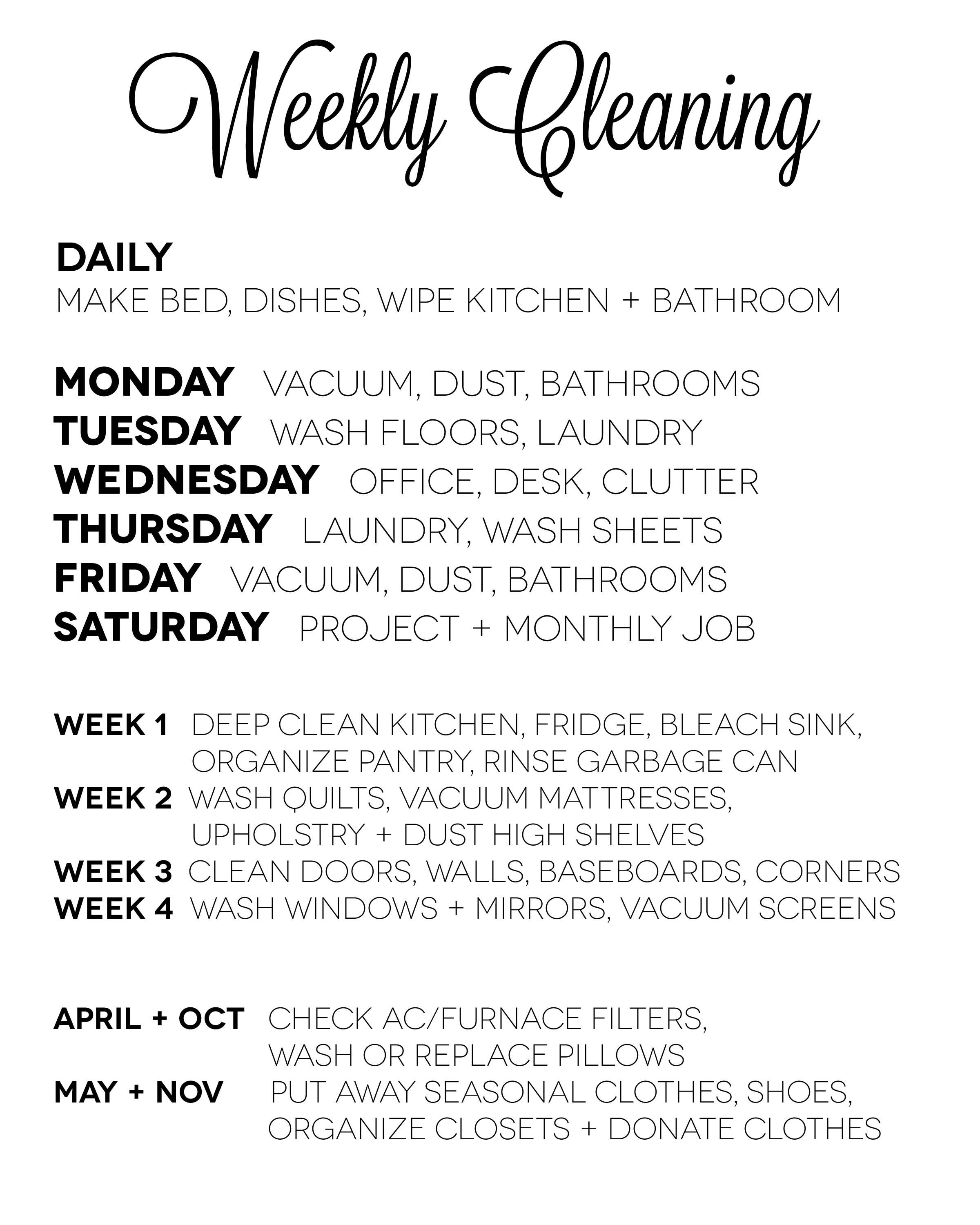Weekly Cleaning Chart including spring/fall maintenance