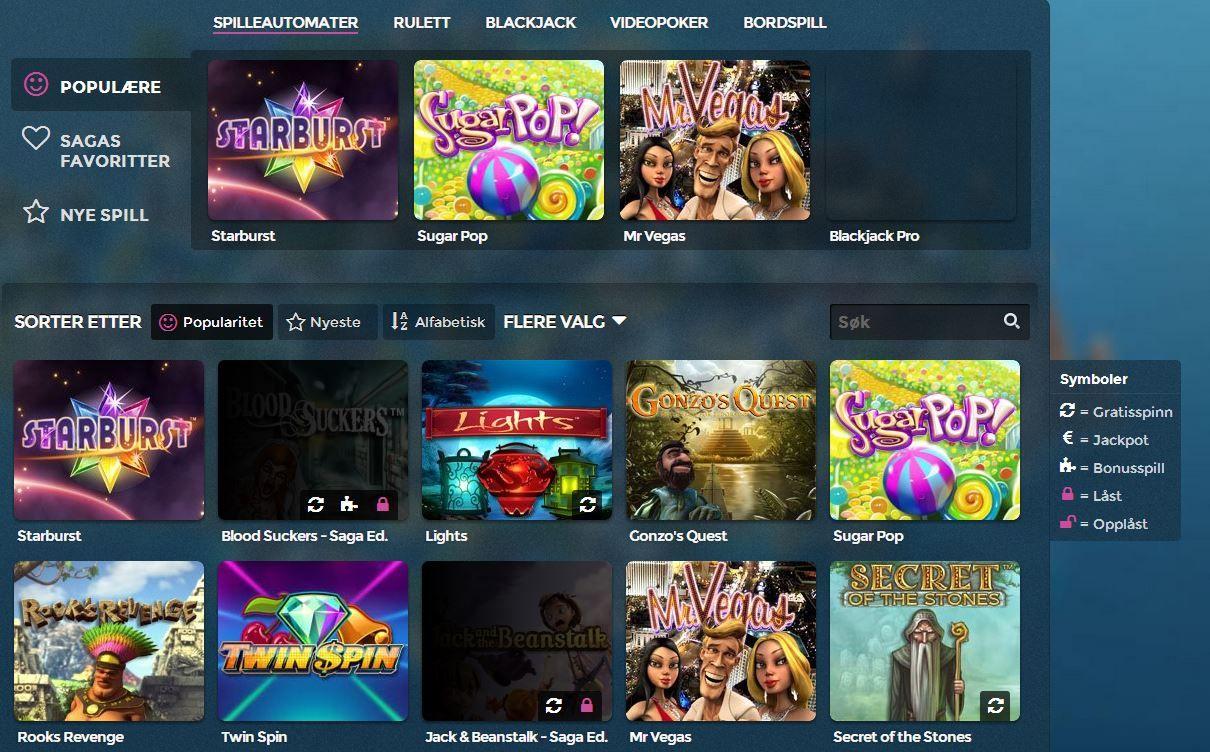 Hos Casino Saga finner du en rekke spilleautomater og de fleste storfavoritter blant spillere. Finn ditt favoritt spill du også: http://www.norskcasino.com/casino-saga/