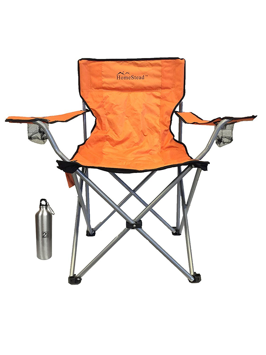Heated Folding Chair by HomeStead with Bonus Water Bottle