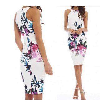Vestido E-Thinker con Estampado Floral-Blanco