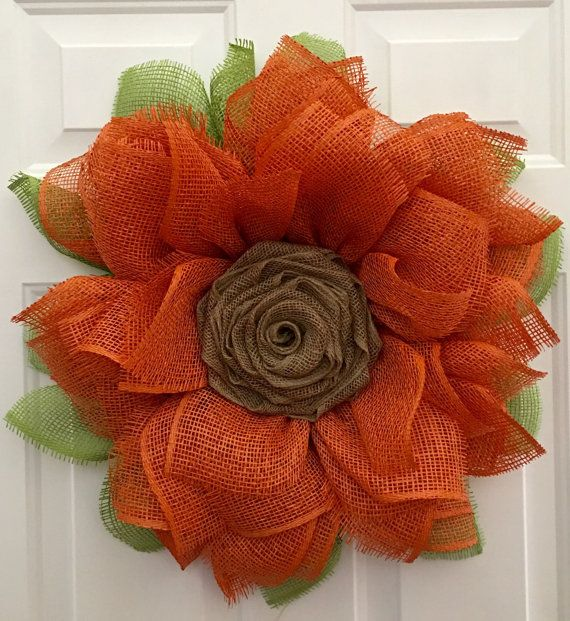 This is a gorgeous wreath made out of Poly Burlap with a ...