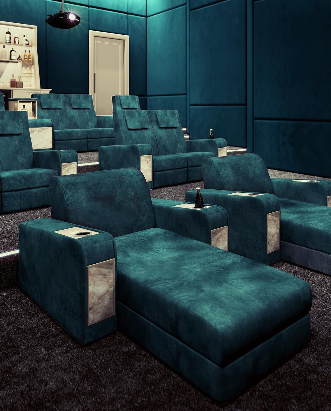 VISMARA DESIGN: Home Theater Room With A Bold Look And