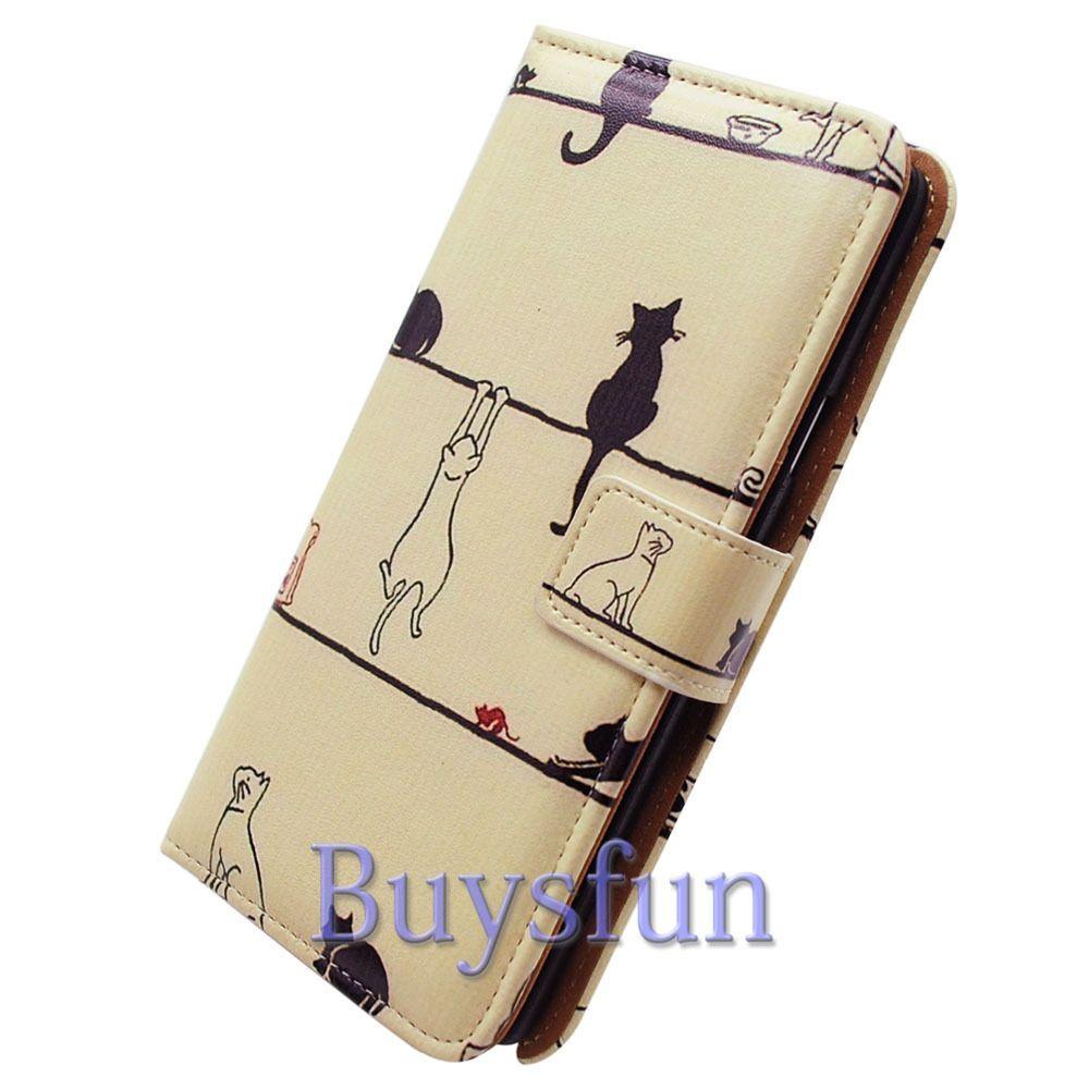 Bocov Bcov Black Cat White Cat Leather Wallet Case For Samsung Galaxy S6 Edge #Bcov