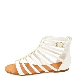 Charlotte Russe Chevron-Plated T-Strap Gladiator Sandals