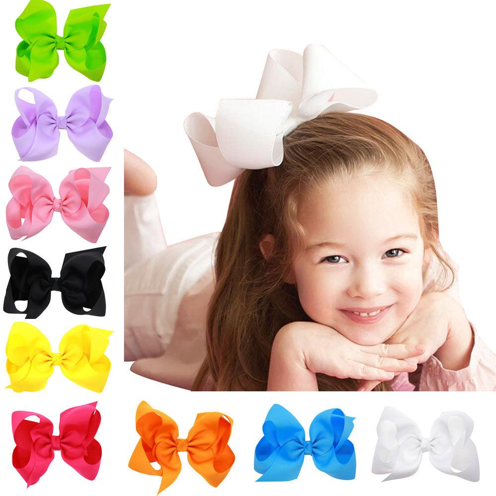 6 Inch Large Hair Bow Hair Accessories Kids Grosgrain Ribbon With Clips Headwear