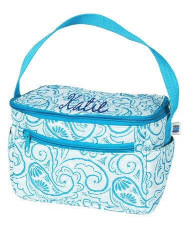 Look what I found on #zulily! Aqua Paisley Personalized Quilted Lunch Tote #zulilyfinds