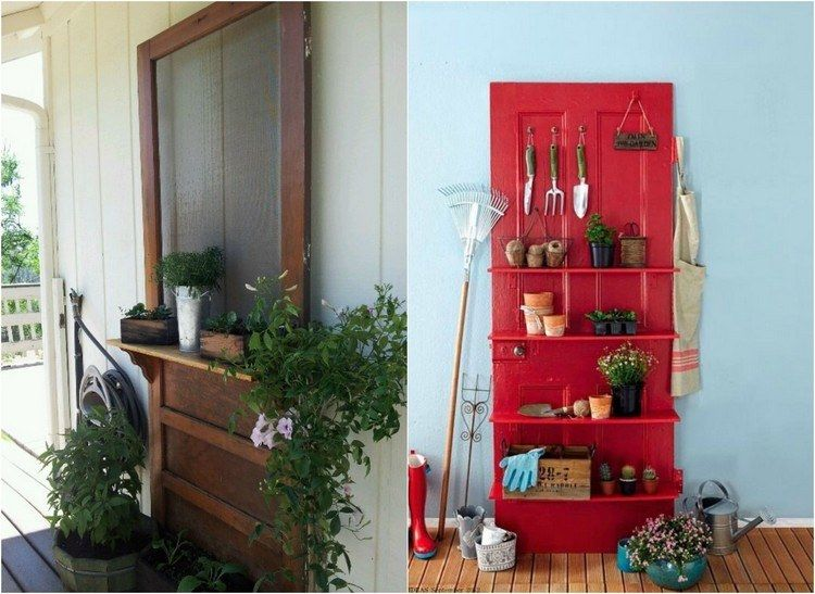 Tür montieren  Regale an einer alten Tür montieren und dort Werkzeuge lagern ...