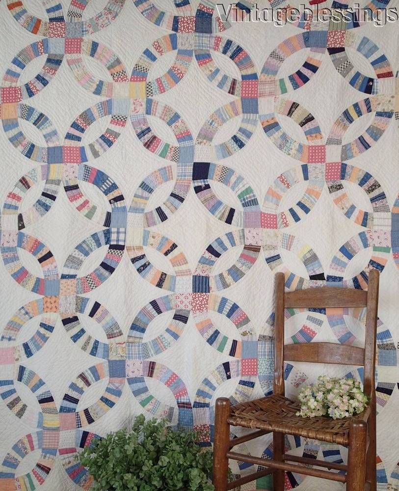 Farmhouse Fresh VINTAGE 30s Scrappy Double Wedding Ring QUILT 80