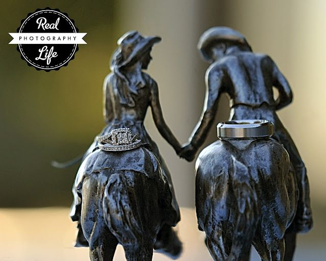Country Wedding cake topper with rings msheetsphotography