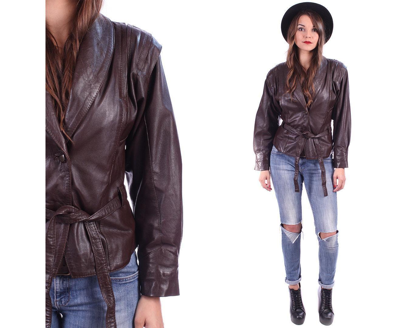 Leather BIKER Crop Jacket 80s Brown CROPPED Motorcycle Women Coat 1980s Moto Rocker Power Shoulder Button Up Retro Jacket Punk Rock Medium - http://www.gezn.com/leather-biker-crop-jacket-80s-brown-cropped-motorcycle-women-coat-1980s-moto-rocker-power-shoulder-button-up-retro-jacket-punk-rock-medium.html