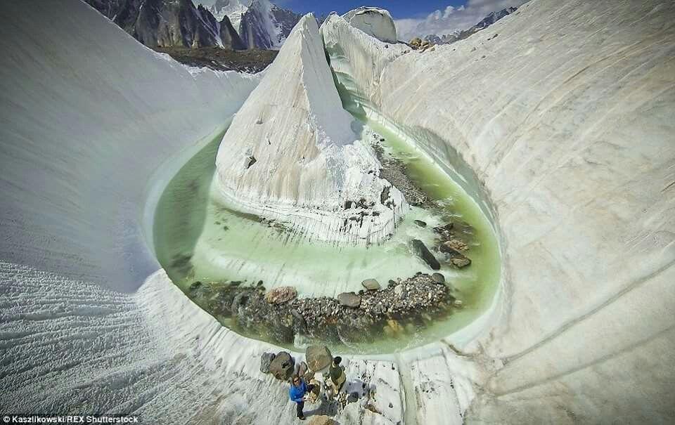 Glacier in Pakistan. Aerial view.