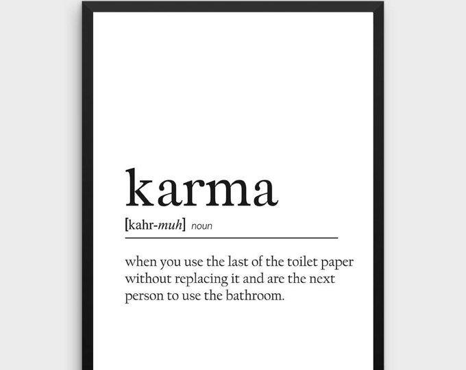 Lustige Karma Zitat Karma Definition Poster Karma Druckbare