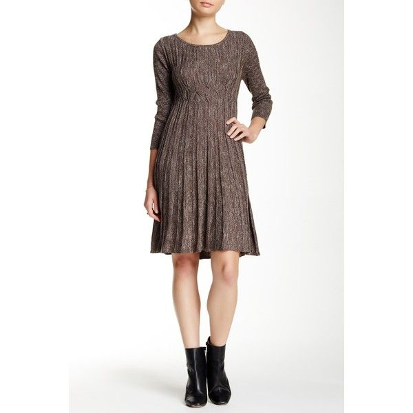 94e3caeeb9 Max Studio Long Sleeve Marled Sweater Dress ( 40) ❤ liked on Polyvore  featuring dresses
