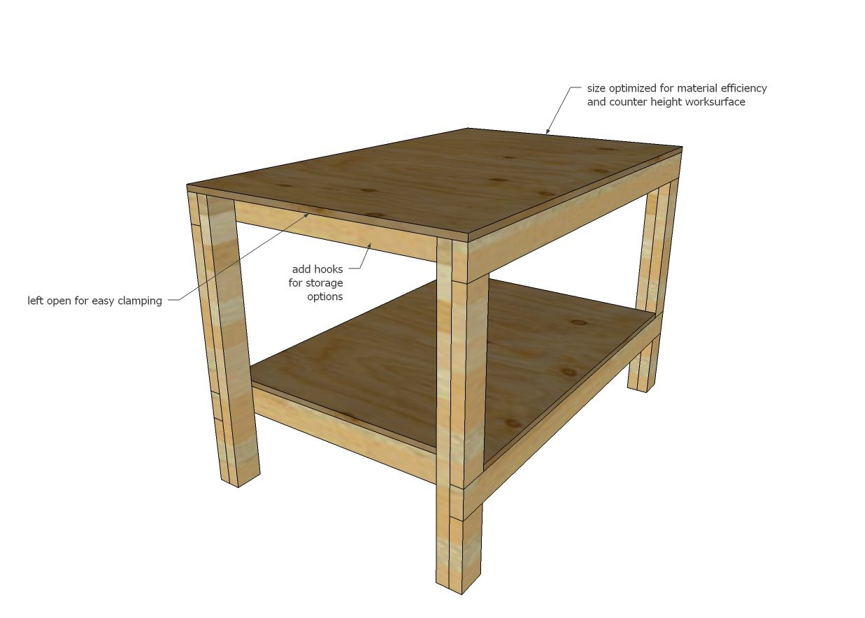 Ana white build a easy diy garage workshop workbench for Working table design ideas