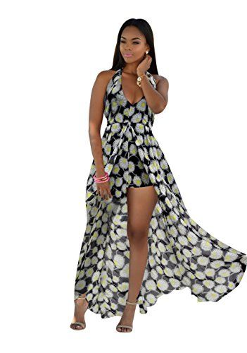 eb52b6a5e4d Ofenbuy Women s V Neck Floral Maxi Dress Overlay Rompers Jumpsuit ...