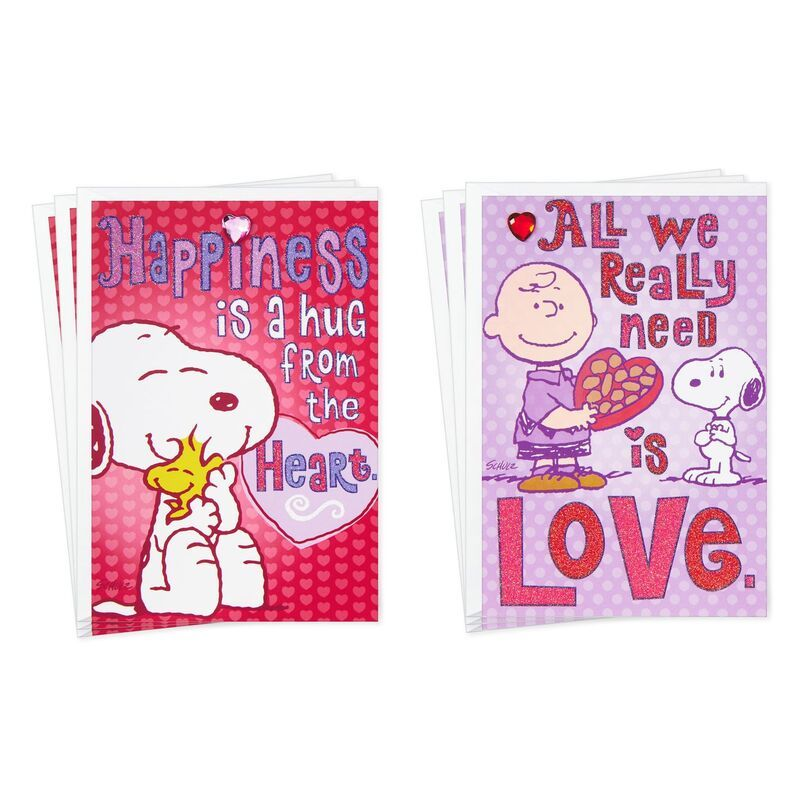 Peanuts happiness and love valentines day cards pack of