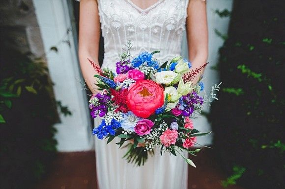 Maggie Sottero for an Intimate Wedding at Hipping Hall. Bright wedding bouquet.  Image by Rachel Joyce Photography.  Read more: http://bridesupnorth.com/2016/11/16/all-i-want-is-you-maggie-sottero-for-a-small-and-intimate-wedding-at-hipping-hall-laura-peter/  #wedding #flowers
