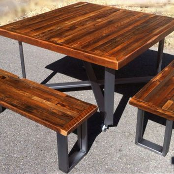 Custom Indoor/ Outdoor Rustic Industrial/ Modern Reclaimed Wood Picnic  Style Dining Table On Castors