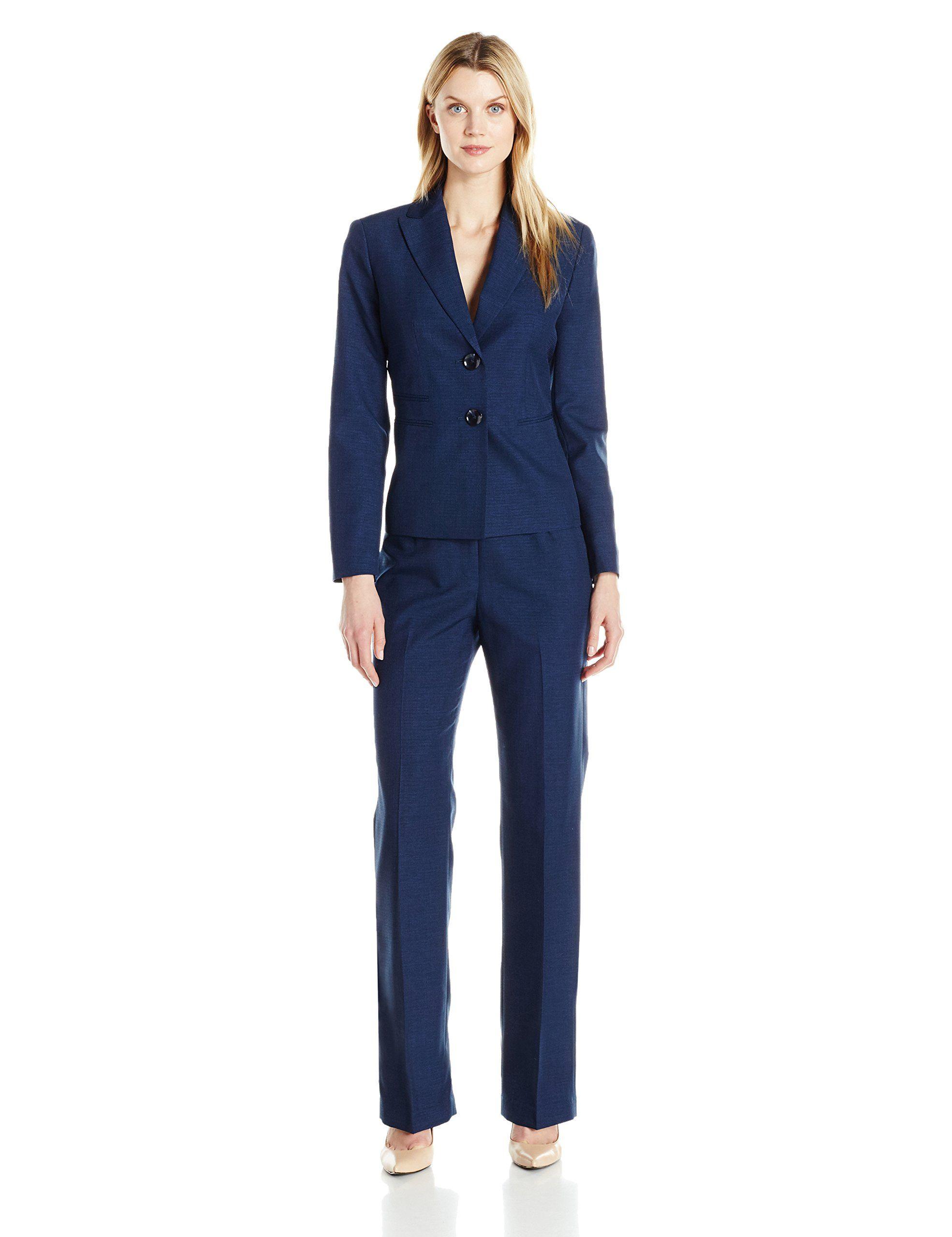 Le suit womens two button pant navy 8 suits for women