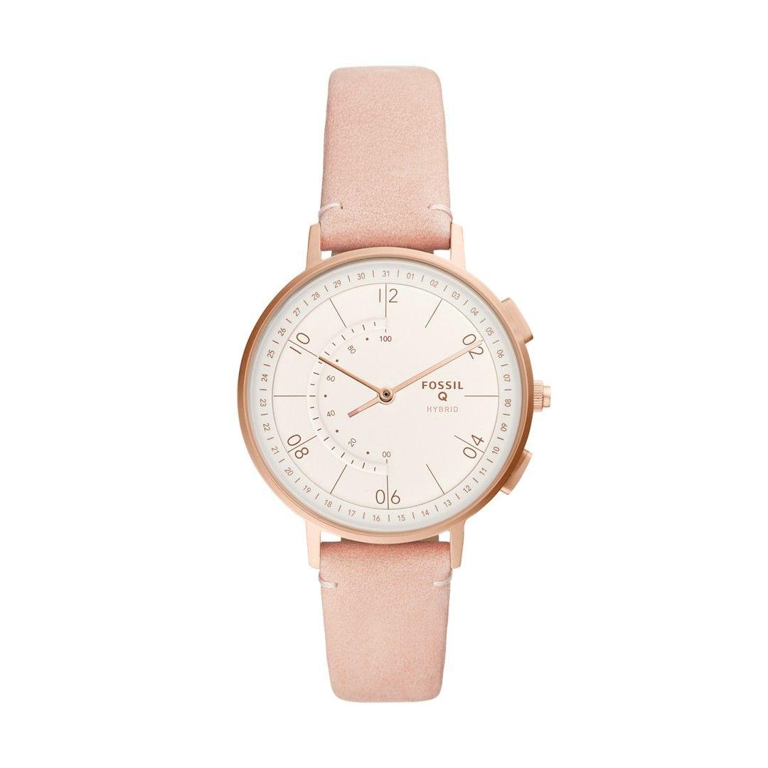 Hybrid Smartwatch Harper Blush Leather Leather Smart Bracelet Watch Bands