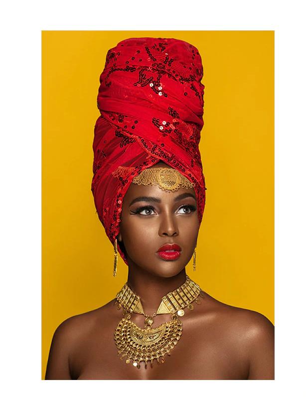 African Woman Portrait Nude Headdress Wall Art Pri