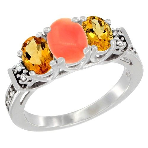 10K White Gold Natural Coral & Citrine Ring 3-Stone Oval Diamond Accent, size 7.5, Women's