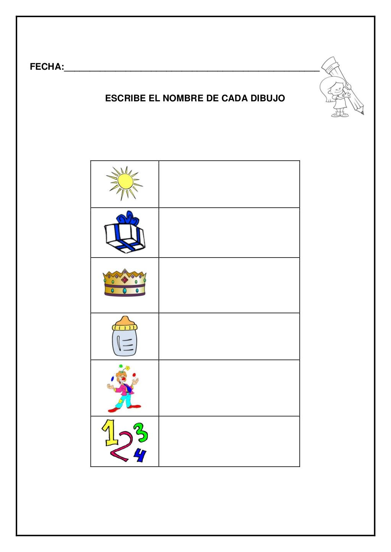 Fecha Escribe El Nombre De Cada Dibujo Education Cuaderno De