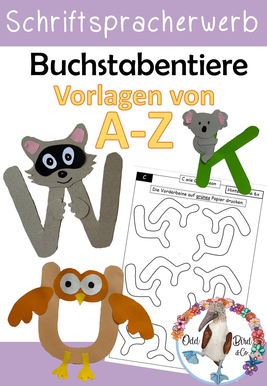 Buchstabentiere   Bastelvorlagen für den Schriftspracherwerb und ...
