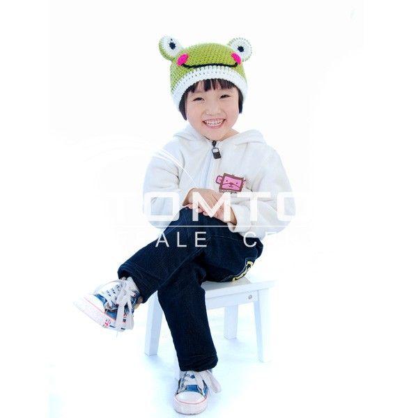 Cartoon animal Cap Handmade Wool knit Children Hat - Frog