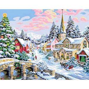 Зима Раскраска картина по номерам акриловыми красками на ...