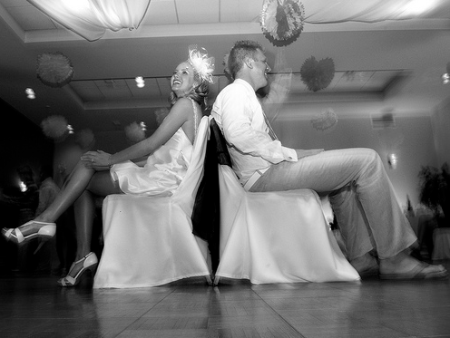 """The Bride and Groom will take off their shoes and exchange shoes so each person has one Groom shoe and one Bride shoe, like so:    Then the DJ will start by saying: """"This game is to show how much the new Mr. and Mrs. Knight really know about each other… I will ask you a question and you raise the shoe that you think best fits the answer to the question… alright here's a practice question…""""Right now, who has the most cash on them?""""    Then it goes on from there, with fun questions like…"""