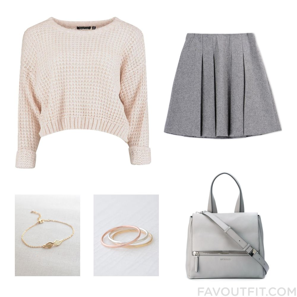 Ootd Set Including Sweater Grey Pleated Skirt Givenchy Shoulder Bag And Angel Wing Jewelry From January 2016 #outfit #look